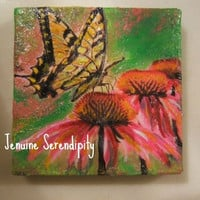 Gypsy swallowtail butterfly miniature 3x3 acrylic  original canvas painting  OOAK