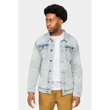 Faded Paisely Print Denim Jacket