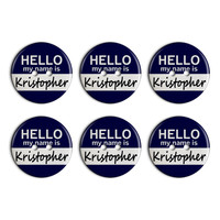 Kristopher Hello My Name Is Plastic Resin Button Set of 6
