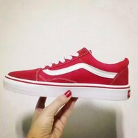 Tagre Vans Red Canvas Skate Shoes