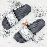 Nike Benassi Swoosh Gray Camo Slide Sandal Slipper - Best Deal Online