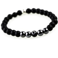 Mens Metallic Glass Evil Eye Bracelet