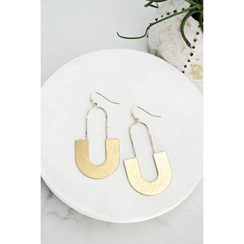 Golden Elongated Oval Earrings
