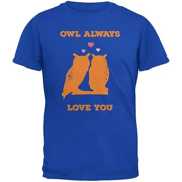 Valentine's Day - Paws - Owl Always Love You Royal Blue Adult T-Shirt