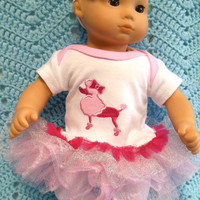 """AMERICAN GIRL Bitty Baby Clothes """"Pretty Poodle"""" (15 inch) doll outfit  dress, leggings, booties/ socks, and headband hair clip lady bug"""