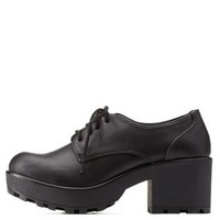 Black Lug Sole Oxfords by Charlotte Russe