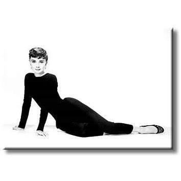 Beautiful Audrey Hepburn in Black Pantsuit Picture on Stretched Canvas, Wall Art Décor, Ready to Hang