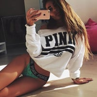 PINK Print Long Sleeve Short Top Blouse Sweater