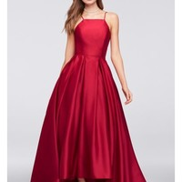High-Neck Satin Ball Gown | David's Bridal