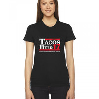 taco mexican beer 17 funny Ladies Fitted T-Shirt