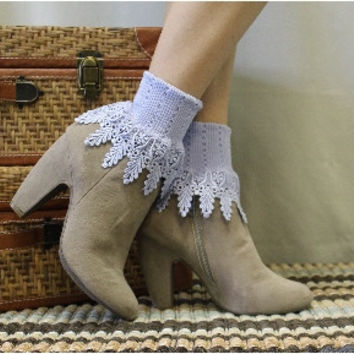 SIGNATURE lace socks - orchid