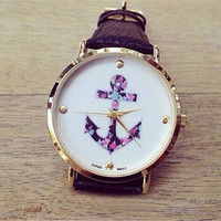 Women's Ladies Vintage Flower Watch Anchor Leather Quartz Watch Black (Size: 40 g, Color: Black) = 1931671300