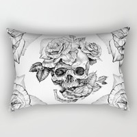 Black and White skull with roses pen drawing Rectangular Pillow by Sarachnid