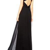 Black Criss Cross Back Split Maxi Dress