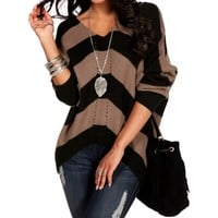 Pre-Order MochaBlack V-Neck Striped Sweater