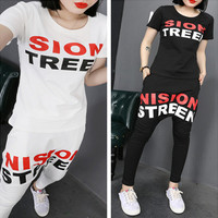 Fashion Casual Multicolor Letter Print Big Crotch Pants Short Sleeve Set Two-Piece Sportswear