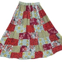 Womens Patchwork Skirt Floral Printed Long Maxi Gypsy Skirts: Amazon.com: Clothing