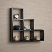Stepped Six Cubby decorative Black Wall Shelf by Danya B