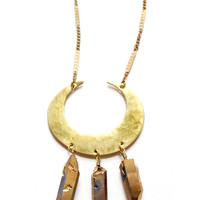 Gold Crescent Crystal Necklace
