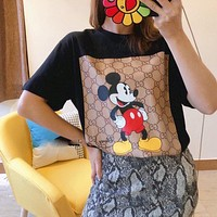 Gucci 2020 Full Print GG Mickey Print Couple Top Short Sleeve T-Shirt