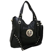 Pretty Faux Leather Fashion Shoulder Bag Purse Black