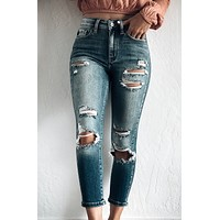 ELIJAH DISTRESSED HIGH RISE SKINNY