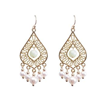 Women's Freshwater Pearl Hoop Earrings Earrings Chandelier Blessed Statement European Pearl Earrings Jewelry White For Party 2pcs