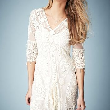 Kate Moss for Topshop Crochet Lace Midi Dress (Nordstrom Exclusive)