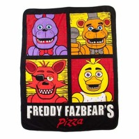 Five Nights at Freddy's Pizza Four Square Character Super Soft Fleece Throw Blanket 48x60