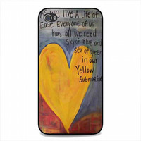 Yellow Submarine Beatles Song Lyrics Canvas For iphone 4 and 4s case