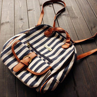 Striped Backpack with Clutch Mini Compartment
