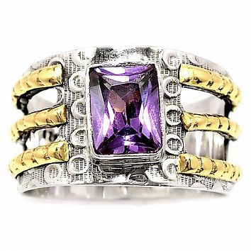Amethyst Two Tone Sterling Silver Cut Out Ring