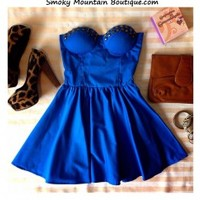 Sexy Blue Bustier Dress with Studs and with Adjustable Straps - Size XS/S/M - Smoky Mountain Boutique