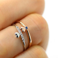 Super Tiny Heart Knuckle Ring Ocean Blue or Clear Crystal Jewelry Silver Rose Gole Plated 3.5US size gift idea / type select