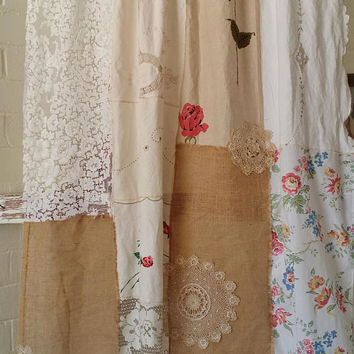 Boho Curtains, Shabby Chic Curtains, Burlap Curtains, Patchwork Curtains, HippieWild, Bohemian Curtains, Lace Curtains, Antique Linens