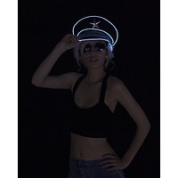 White Light Up Military General Hat