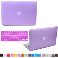 """HDE MacBook Air 13"""" Case Hard Shell Cover Solid Rubberized Matte Plastic + Keyboard Skin - Fits 13.3"""" Apple Mac Air Notebook Model A1369 / A1466 (Purple)"""