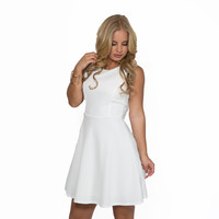 Fade Into Roses Skater Dress In White