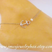 Silver anchor anklet with freshwater pearl
