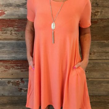 Lets Just Relax Coral Dress