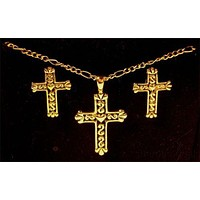 "Gold Black Religious Cross Heart 18"" Necklace Lot 3 Pendant Pierced Earring Set"