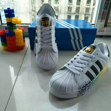 """""""Adidas"""" All-match Fashion Couple  Casual Inked Three Bars Shell Head Plate Shoes  Sneakers Shoes Small White Shoes"""