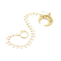 Ariene. Gold Crescent Beaded Nose Chain - Clip