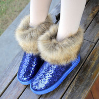 Women sequins faux rabbit fur thick bottom snow boots