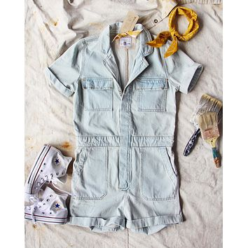 Rosie Short Coverall in Denim