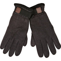 River Island MensGrey Thinsulate knitted gloves