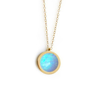 Mini Forever Pendant (blue opal inlay)