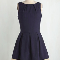 Nautical, Vintage Inspired, 50s, Scholastic Mid-length Sleeveless Fit & Flare Luck Be a Lady Dress in Navy Contrast