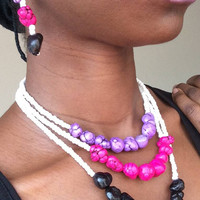 Pink Purple Black white seed bead beaded dyed turquoise nuggets necklace earring set