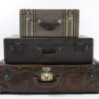 Vintage Suitcase / Vintage Stack of Suitcases / Old Luggage / Antique Suitcase